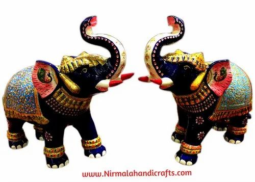 Handicrafts Metal Elephant Enamel and Metal Lord Ganesha