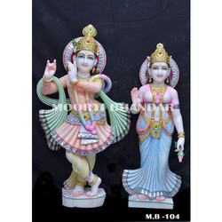 Radha Krishna Colored White Makrana Marble Statue