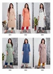 Designer Linen Cotton Hand Work Kurtis