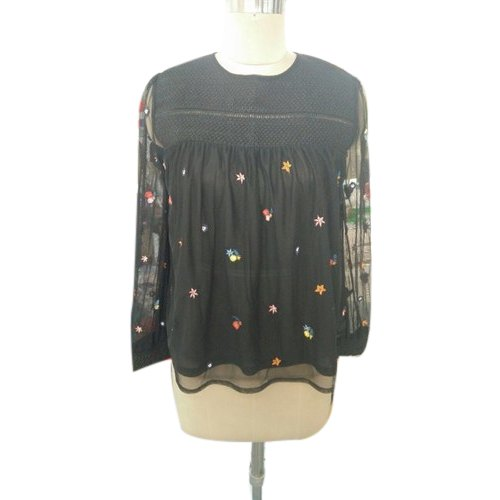 Party Wear Round Neck Ladies Embroidered Fancy Top, Size: S, M, L