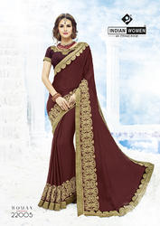 Indian Women Maroon Moss Chiffon Saree