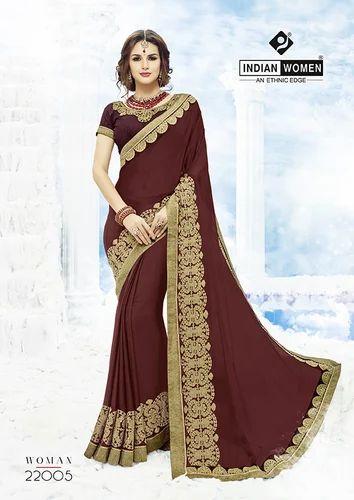 Indian Women Maroon Moss Chiffon Saree