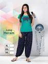 Navy Blue Cotton Ladies Printed Long Harem Pants