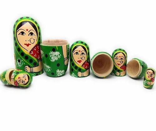 Fine Craft India Ganesha Stacking Set of 9 Wooden Russian Nesting Dolls
