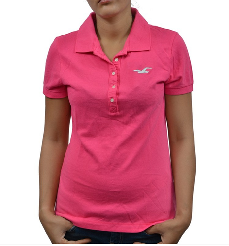 f7ed310f Hollister Women's/ Girl's POLO T-Shirt/ Top Pink, Female T-Shirts ...