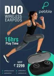 Black Rubberised plastic Pebble Wireless Warpods