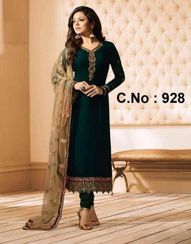 Chanderi Dark Green Embroidered Salwar Suit Rs 1999 Piece Id