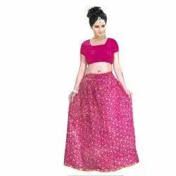 Flared Pink Women Fancy Long Skirt