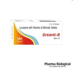 Greavit-B Lycopene with Vitamins & Minerals Tablets For Vitamin Deficiency, Packaging Size: 10 X 10 Tablets