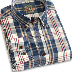 Cotton Printed Plaid Casual Shirts, Size: All Sizes