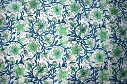 Hand Block Cotton Floral Printed Fabric