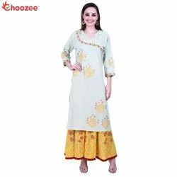 Inspire Embroided Angrakha Kurta with Flared Palazzo (Gotta Patti Work)