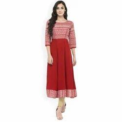 3/4th Sleeve Ladies Designer Kurti, Size: S - XXL