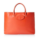 Ladies Orange Leather Hand Bags