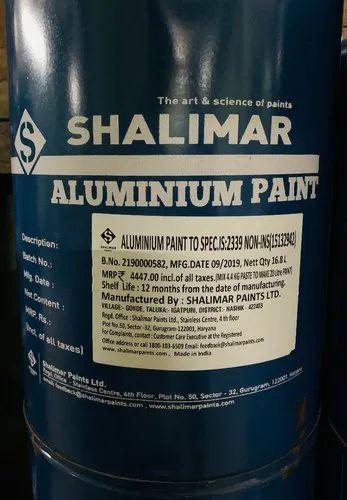 Shalimar Aluminium Paint Is 2339 Liquid Packaging Size 20 Ltrs Rs 190 Litre Id 21845528297