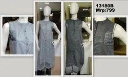 Sleevless handloom border Ladies Casual Cotton Kurti
