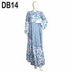 10 Cotton Hand Printed Women's Long Dress India DB14