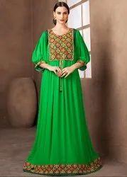 Parrot Green Maxi Style Kaftan Dress