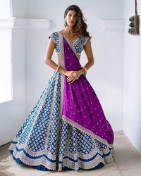 Party Wear Semi Stitched Banglory Satin Lehengha Choli