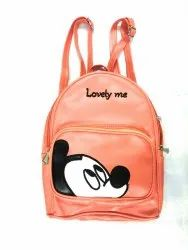 Cute Mickey Printed PU Leather Backpack/Daypacks/Purse 10 L Backpack  (Orange, White)