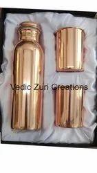 CU-30 Plain Copper Bottle With 2 Glass Set