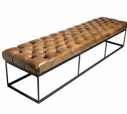 Iron + Leather Black INDUSTRIAL BENCH, For Outdoor