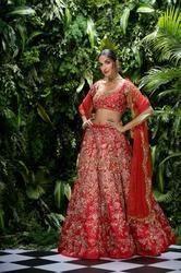 Indian Ethnic Designer Thai Silk Heavy Embroidered Bridal Lehenga Choli