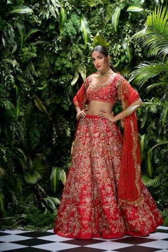 Indian Ethnic Designer Thai Silk Heavy Embroidered Bridal Lehenga Choli