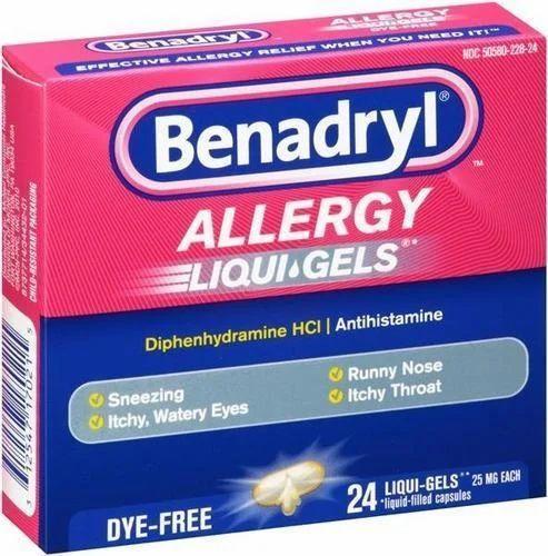 Benadryl Softgel Capsule, Packing Size: 1x10, Packaging Type: Bottle
