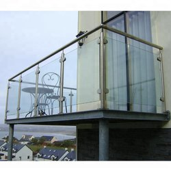 Stainless Steel SS Glass Balcony Railing, For Residential & Commercial, Material Grade: SS304