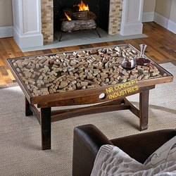 Natural Rustic Coffee Table With Barrel Stave Legs, Size/Dimension: Length 3 feet, Width 2.5 feet