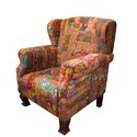 Kantha Fabric Upholstered Sofa, Fabric High Back Armchair