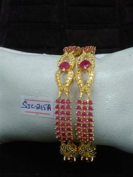 Round Golden And Pink Ladies Bridal Bangles, Packaging Type: Box