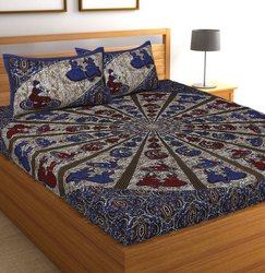 Multicolor Printed Cotton Double Bed Sheets