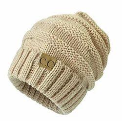 026d370ccf655 JERN Black and Beige Winter Knitted Woolen Cap (Beige