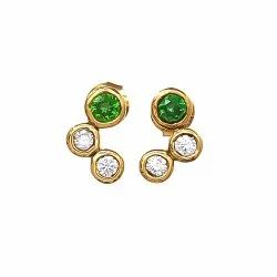 Green And White CZ Stud Earring
