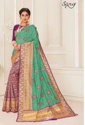Designer Party Wear Cotton Silk Saree