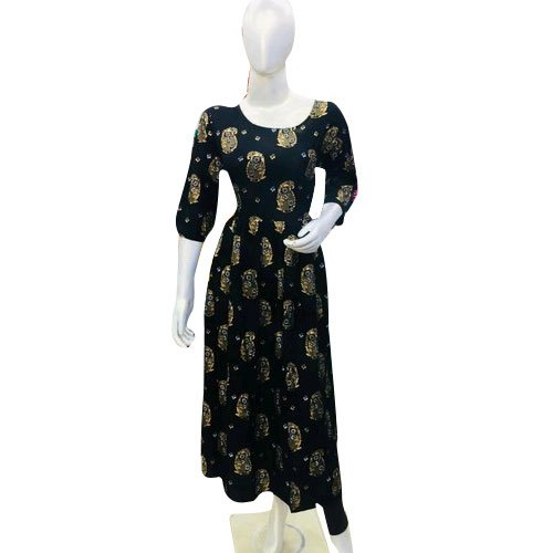 Party Wear 3/4th Sleeve Ladies Foil Printed Kurti, Size: M