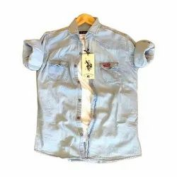 US Polo Collar Neck Mens Plain Denim Shirt