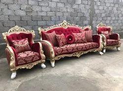 Brown Rectangular Teak Wood King Sofa for Home