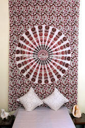 Pink Brown Ombre Twin Mandala Wall Tapestry