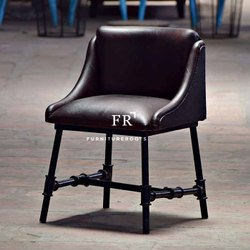 Padded Upholstered Industrial Metal Chair for Cafes