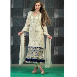 Normal Salwar Chanderi Bollywood Embroidery Suit, Size: M