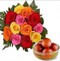 12 Mix Roses With Gulab Jamun
