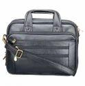 Plain Solid Genuine Leather Black Briefcase Lpbl003