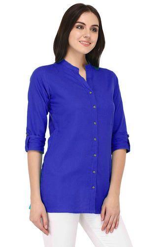 e14d7952494 Cotton Plain Royal Blue Ladies Kurti Tops