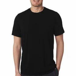 Men Round Neck Black T Shirt, Size: S-XXXL