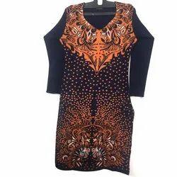 Stitched V-Neck Designer Ladies Woolen Kurti, Wash Care: Machine wash