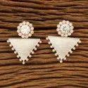 White Copper Designer Rose Gold Plated Short Earring 401048