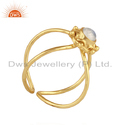 Rainbow Moonstone Handmade Gold Plated Designer Silver Ring Jewelry